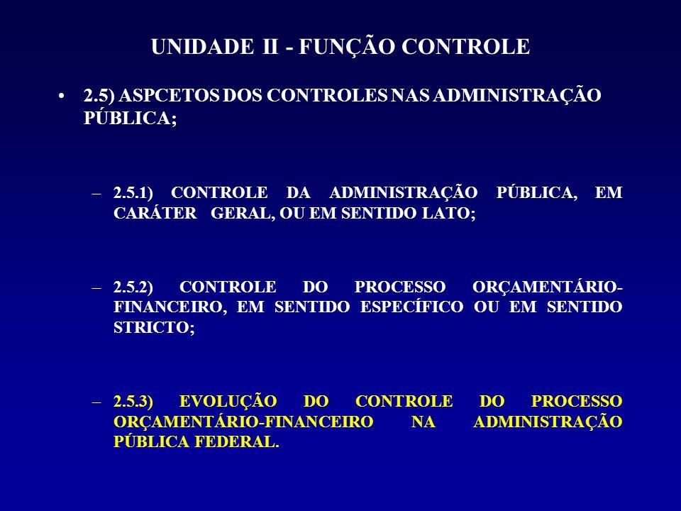 UNIDADE II - FUNÇÃO CONTROLE 2.5) ASPCETOS DOS CONTROLES NAS ADMINISTRAÇÃO PÚBLICA; –2.5.1) CONTROLE DA ADMINISTRAÇÃO PÚBLICA, EM CARÁTER GERAL, OU EM