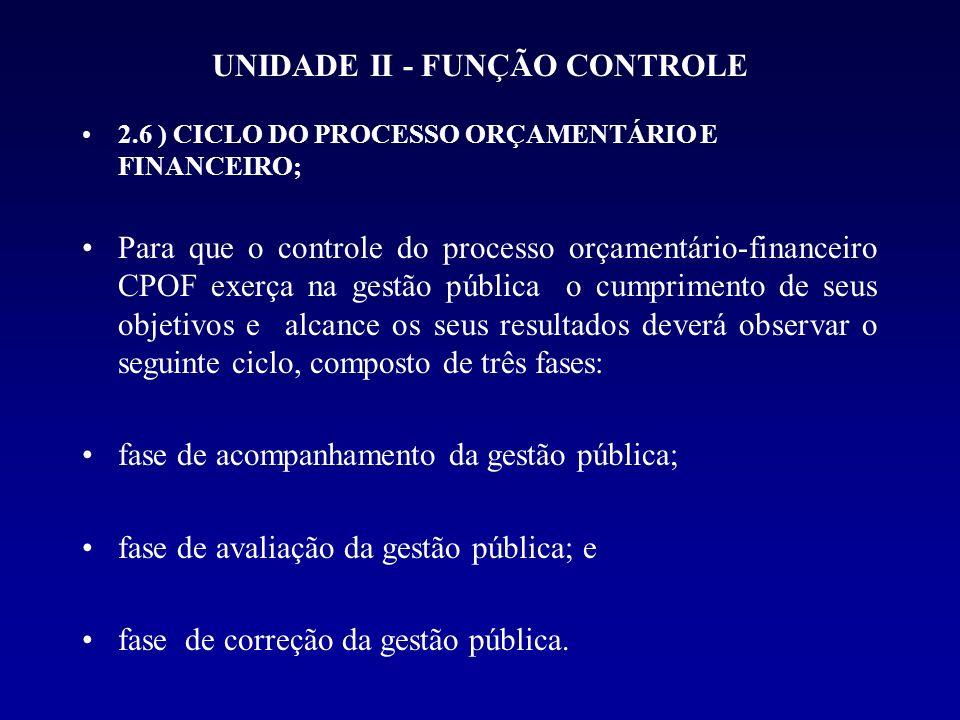 UNIDADE II - FUNÇÃO CONTROLE 2.6 ) CICLO DO PROCESSO ORÇAMENTÁRIO E FINANCEIRO; Para que o controle do processo orçamentário-financeiro CPOF exerça na