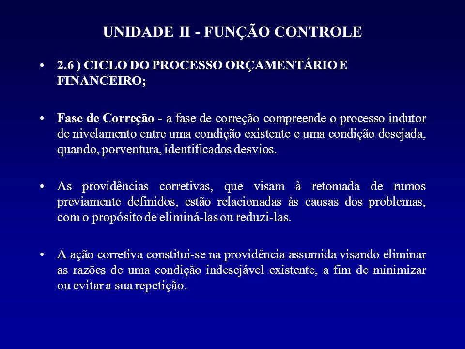 UNIDADE II - FUNÇÃO CONTROLE 2.6 ) CICLO DO PROCESSO ORÇAMENTÁRIO E FINANCEIRO; Fase de Correção - a fase de correção compreende o processo indutor de