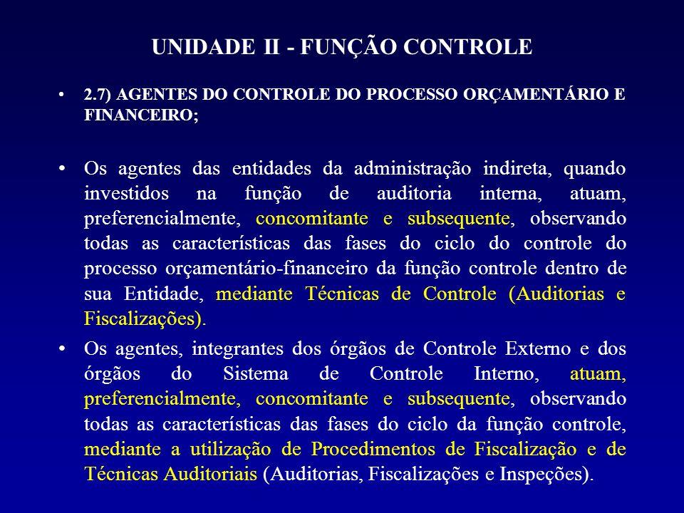 UNIDADE II - FUNÇÃO CONTROLE 2.7) AGENTES DO CONTROLE DO PROCESSO ORÇAMENTÁRIO E FINANCEIRO; Os agentes das entidades da administração indireta, quand