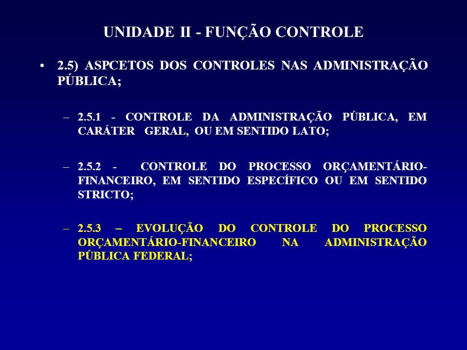 UNIDADE II - FUNÇÃO CONTROLE 2.5.1 - CONTROLE DA ADMINISTRAÇÃO PÚBLICA, EM CARÁTER GERAL, OU EM SENTIDO LATO; A) CONTROLE ADMINISTRATIVO B) CONTROLE LEGISLATIVO C) CONTROLE JUDICIAL -