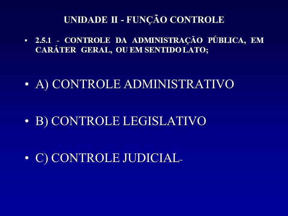 UNIDADE II - FUNÇÃO CONTROLE 2.5.1 - CONTROLE DA ADMINISTRAÇÃO PÚBLICA, EM CARÁTER GERAL, OU EM SENTIDO LATO; A) CONTROLE ADMINISTRATIVO B) CONTROLE L