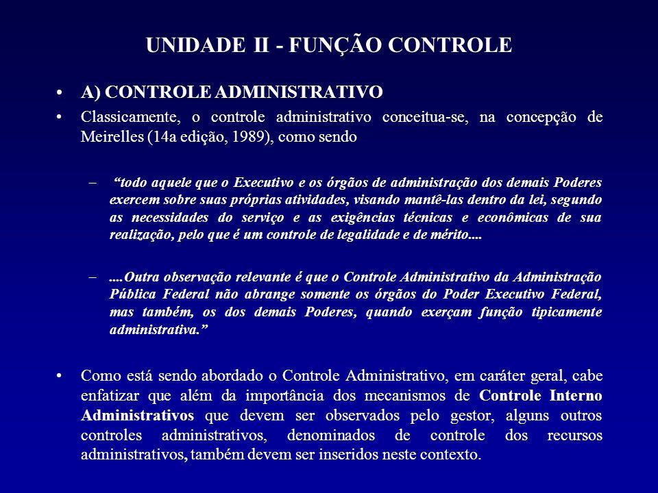 UNIDADE II - FUNÇÃO CONTROLE A) CONTROLE ADMINISTRATIVO Classicamente, o controle administrativo conceitua-se, na concepção de Meirelles (14a edição,