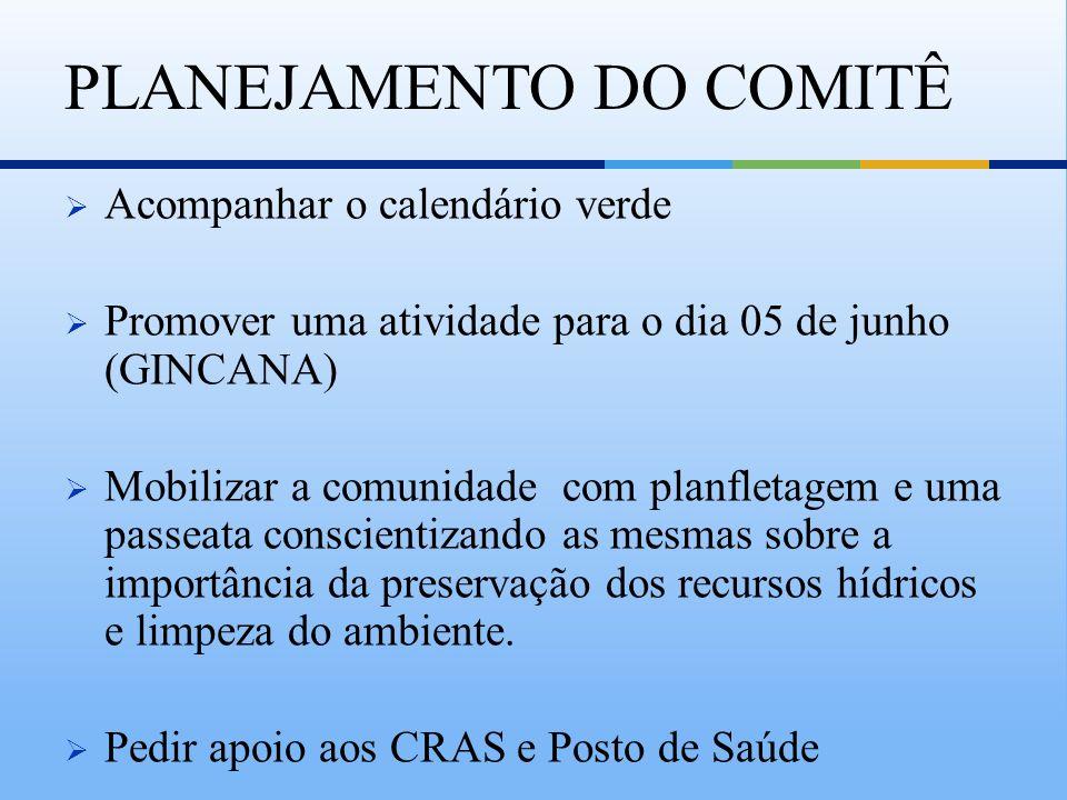 Acompanhar o calendário verde Promover uma atividade para o dia 05 de junho (GINCANA) Mobilizar a comunidade com planfletagem e uma passeata conscient