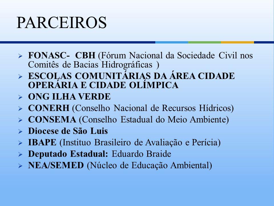 FONASC- CBH (Fórum Nacional da Sociedade Civil nos Comitês de Bacias Hidrográficas ) ESCOLAS COMUNITÁRIAS DA ÁREA CIDADE OPERÁRIA E CIDADE OLÍMPICA ON