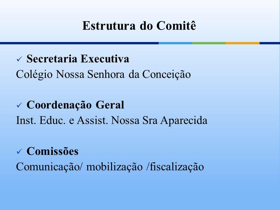 Estrutura do Comitê Secretaria Executiva Colégio Nossa Senhora da Conceição Coordenação Geral Inst. Educ. e Assist. Nossa Sra Aparecida Comissões Comu