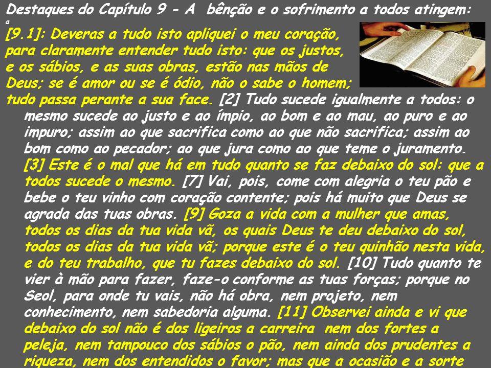 Destaques do Capítulo 9 - A bênção e o sofrimento a todos atingem: a [9.1]: Deveras a tudo isto apliquei o meu coração, para claramente entender tudo