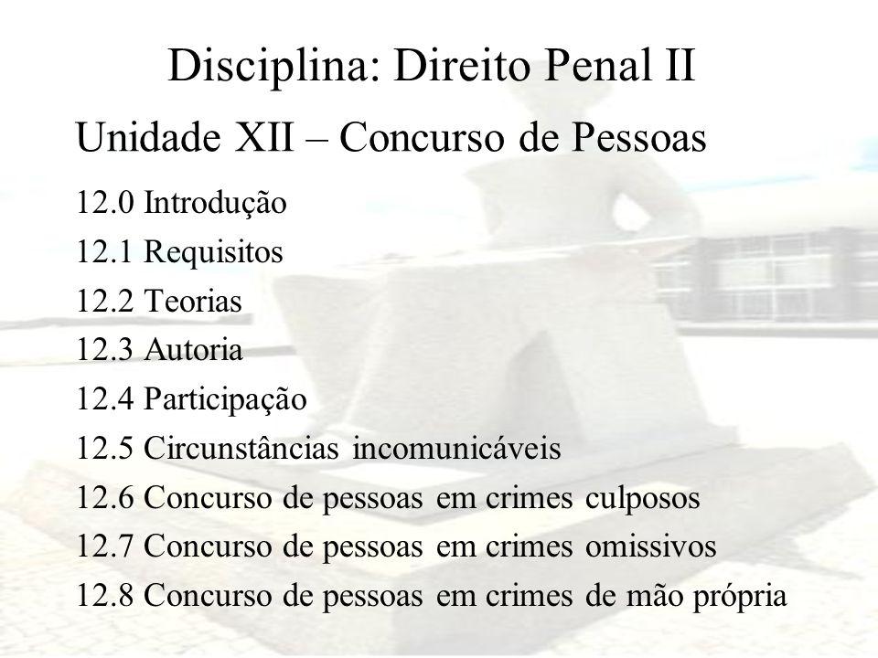 Disciplina: Direito Penal II 12.0 Introdução 12.1 Requisitos 12.2 Teorias 12.3 Autoria 12.4 Participação 12.5 Circunstâncias incomunicáveis 12.6 Concu