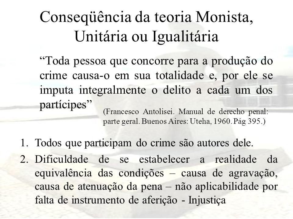 Conseqüência da teoria Monista, Unitária ou Igualitária Toda pessoa que concorre para a produção do crime causa-o em sua totalidade e, por ele se impu