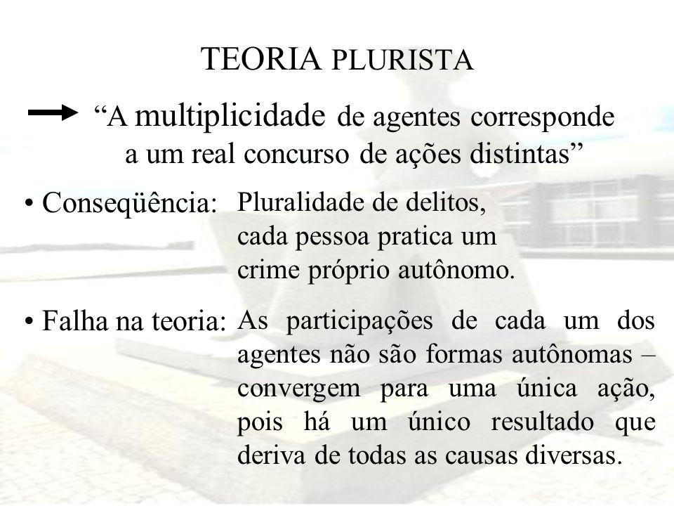 TEORIA PLURISTA A multiplicidade de agentes corresponde a um real concurso de ações distintas Conseqüência: Pluralidade de delitos, cada pessoa pratic