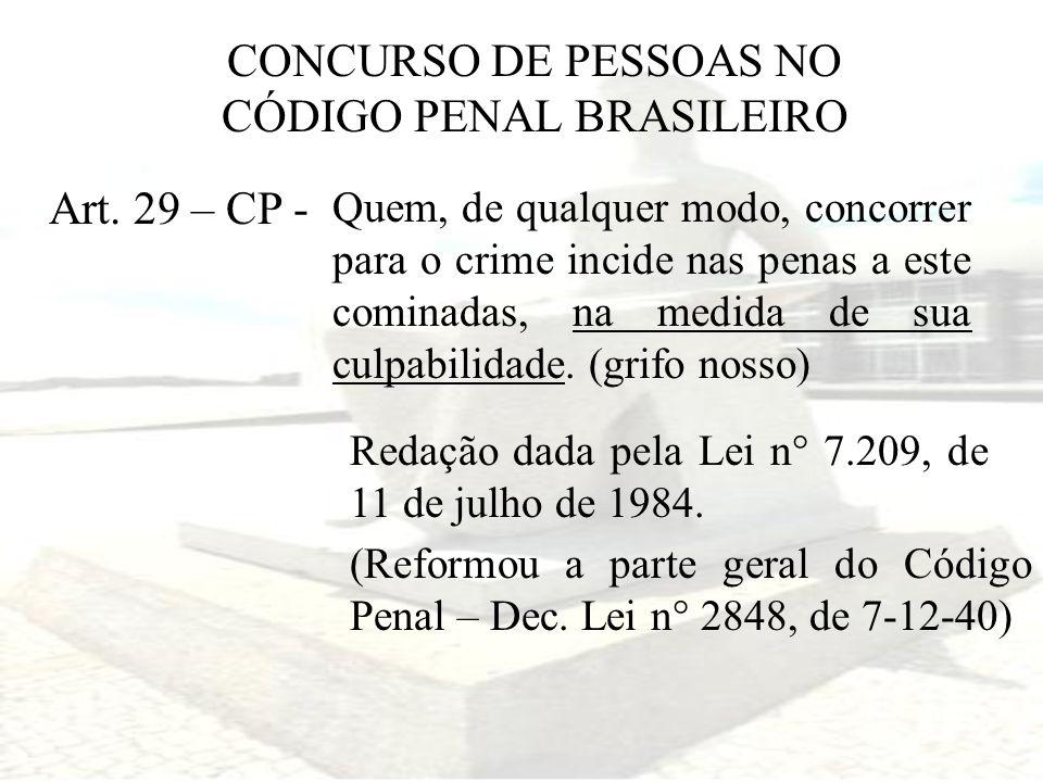 CONCURSO DE PESSOAS NO CÓDIGO PENAL BRASILEIRO Art. 29 – CP - Quem, de qualquer modo, concorrer para o crime incide nas penas a este cominadas, na med