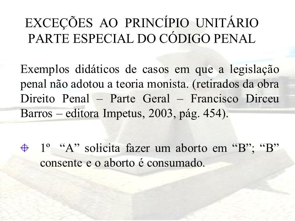 EXCEÇÕES AO PRINCÍPIO UNITÁRIO PARTE ESPECIAL DO CÓDIGO PENAL Exemplos didáticos de casos em que a legislação penal não adotou a teoria monista. (reti