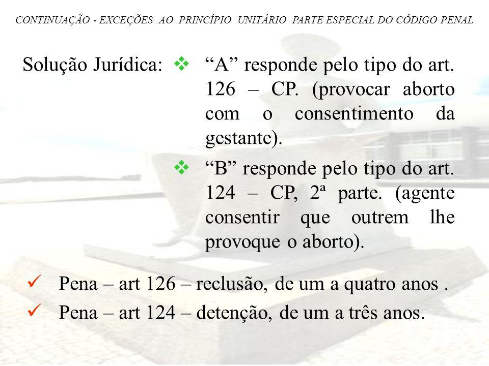 Solução Jurídica: A responde pelo tipo do art. 126 – CP. (provocar aborto com o consentimento da gestante). B responde pelo tipo do art. 124 – CP, 2ª