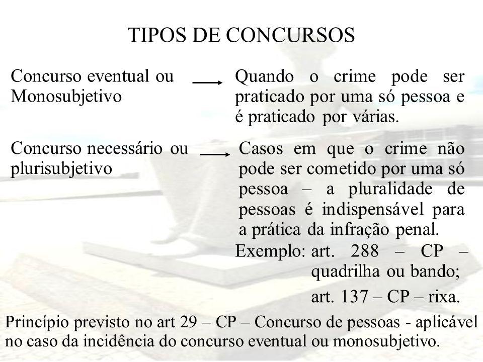TIPOS DE CONCURSOS Concurso eventual ou Monosubjetivo Quando o crime pode ser praticado por uma só pessoa e é praticado por várias. Concurso necessári