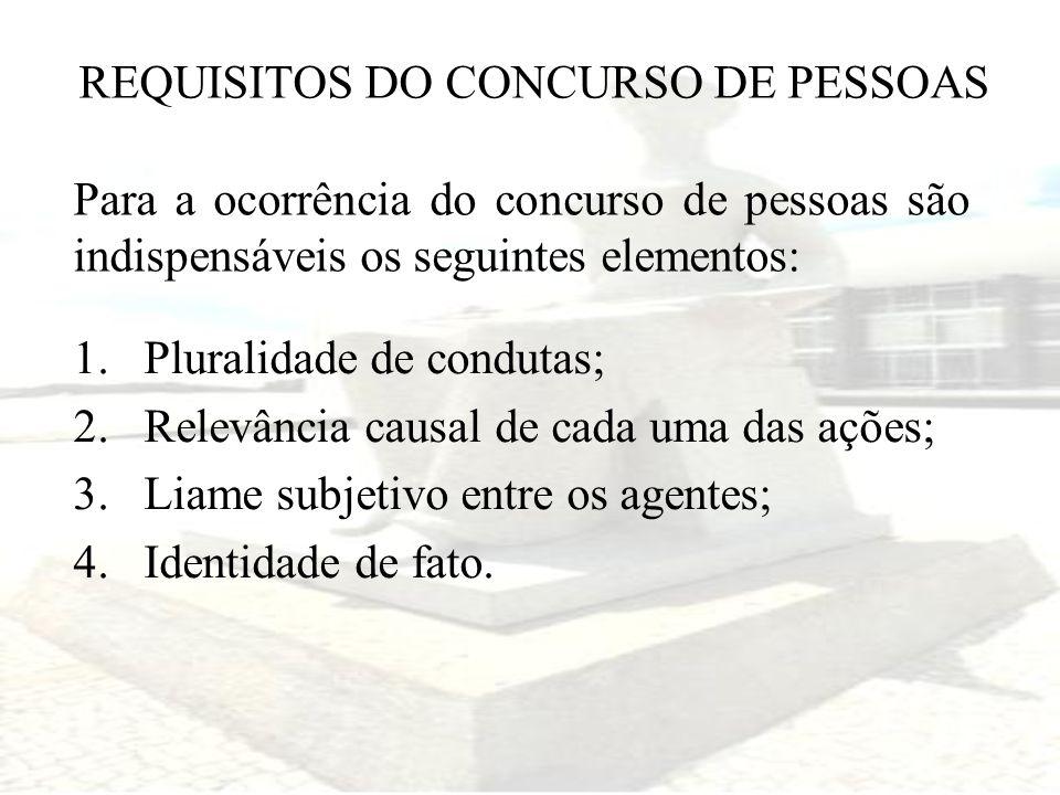 REQUISITOS DO CONCURSO DE PESSOAS Para a ocorrência do concurso de pessoas são indispensáveis os seguintes elementos: 1.Pluralidade de condutas; 2.Rel