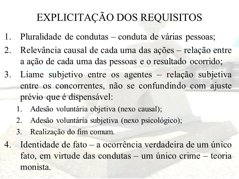 EXPLICITAÇÃO DOS REQUISITOS 1.Pluralidade de condutas – conduta de várias pessoas; 2.Relevância causal de cada uma das ações – relação entre a ação de