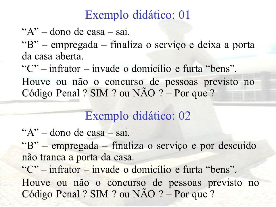 Exemplo didático: 01 A – dono de casa – sai. B – empregada – finaliza o serviço e deixa a porta da casa aberta. C – infrator – invade o domicílio e fu