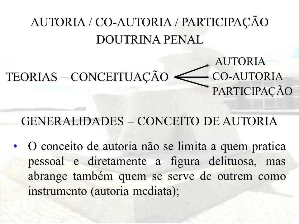 AUTORIA / CO-AUTORIA / PARTICIPAÇÃO DOUTRINA PENAL TEORIAS – CONCEITUAÇÃO AUTORIA CO-AUTORIA PARTICIPAÇÃO GENERALIDADES – CONCEITO DE AUTORIA O concei