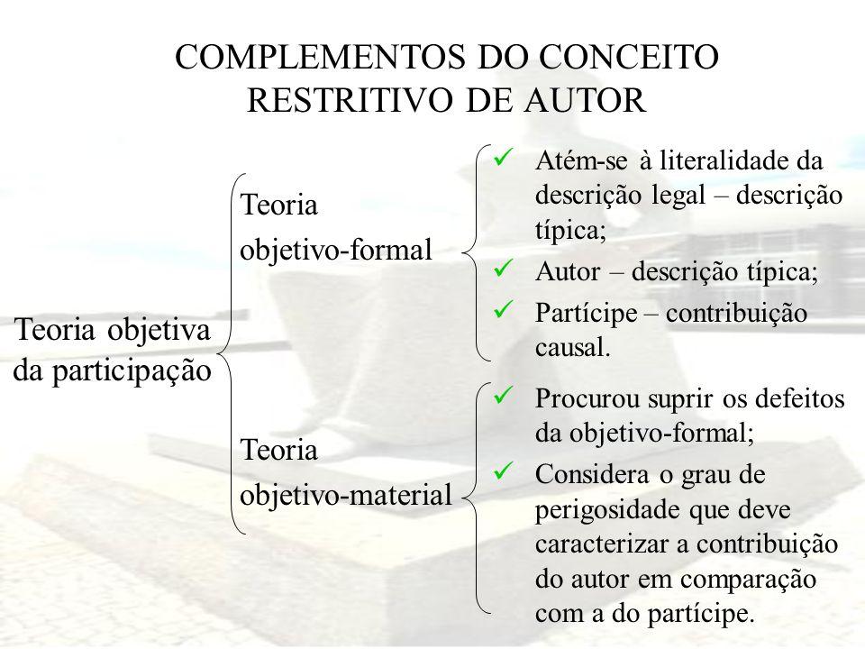 COMPLEMENTOS DO CONCEITO RESTRITIVO DE AUTOR Teoria objetiva da participação Teoria objetivo-formal Teoria objetivo-material Atém-se à literalidade da