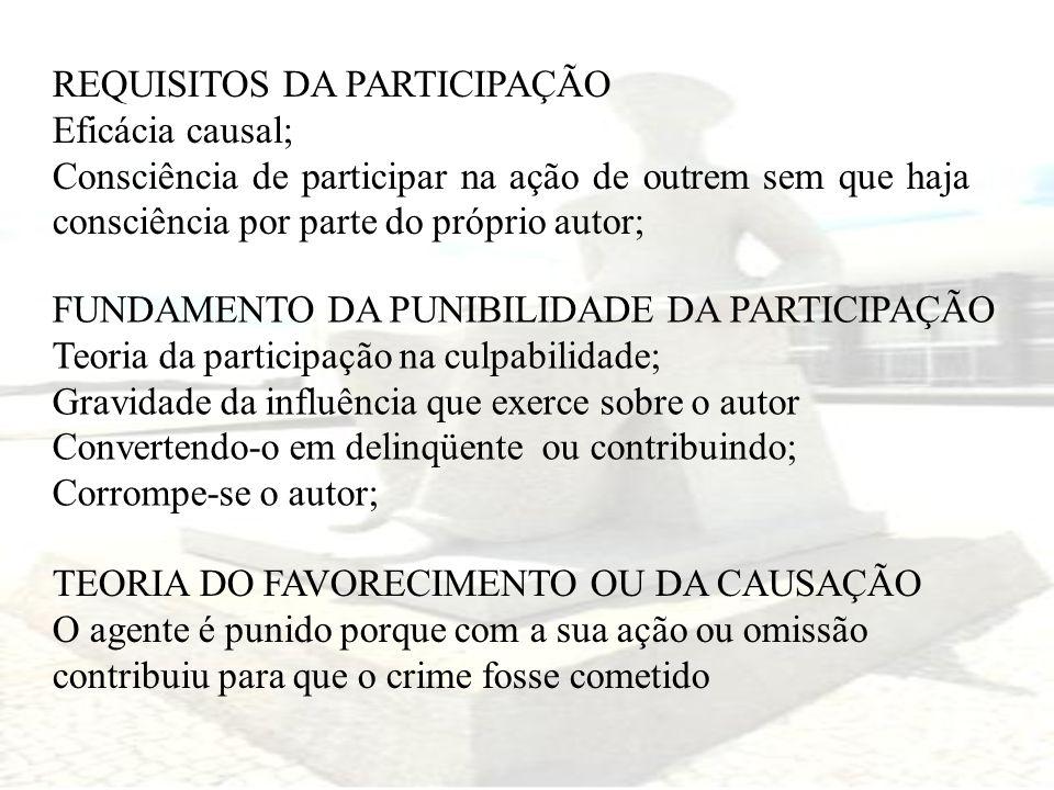 REQUISITOS DA PARTICIPAÇÃO Eficácia causal; Consciência de participar na ação de outrem sem que haja consciência por parte do próprio autor; FUNDAMENT