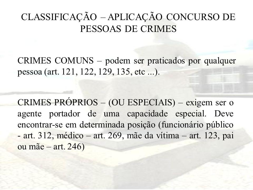 CLASSIFICAÇÃO – APLICAÇÃO CONCURSO DE PESSOAS DE CRIMES CRIMES COMUNS – podem ser praticados por qualquer pessoa (art. 121, 122, 129, 135, etc...). CR