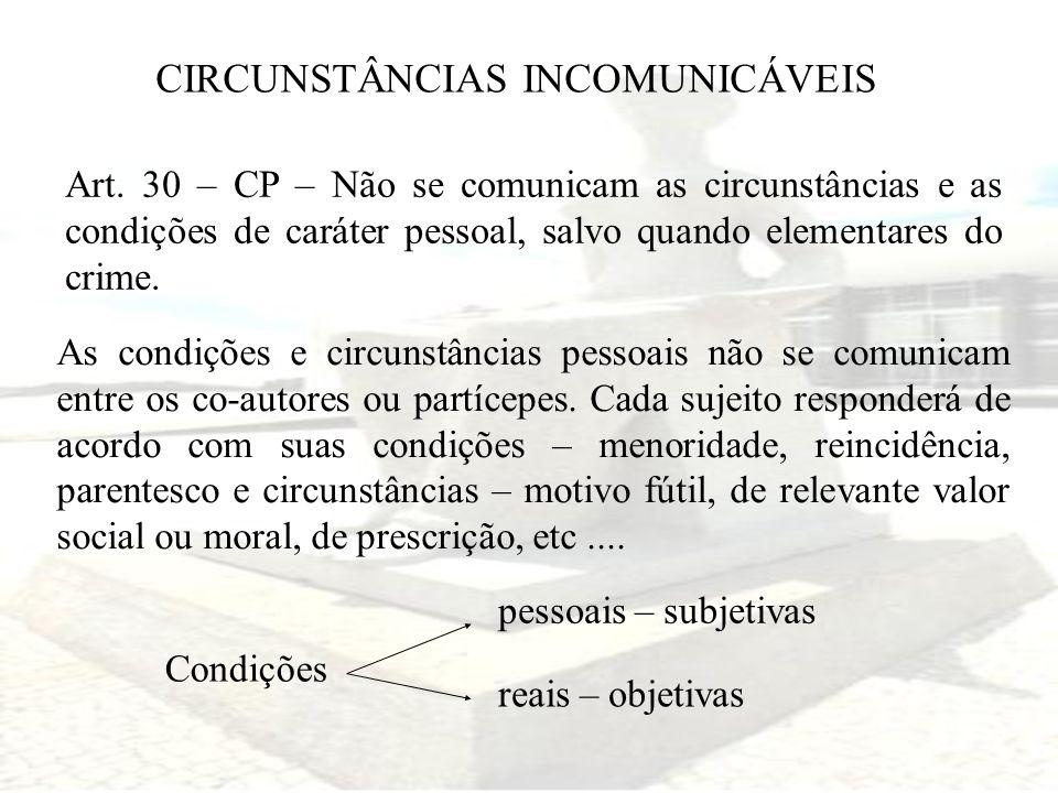 CIRCUNSTÂNCIAS INCOMUNICÁVEIS Art. 30 – CP – Não se comunicam as circunstâncias e as condições de caráter pessoal, salvo quando elementares do crime.