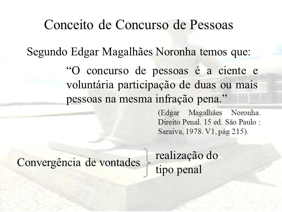 Conceito de Concurso de Pessoas Segundo Edgar Magalhães Noronha temos que: O concurso de pessoas é a ciente e voluntária participação de duas ou mais