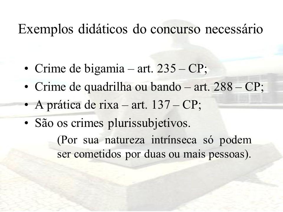 Exemplos didáticos do concurso necessário Crime de bigamia – art. 235 – CP; Crime de quadrilha ou bando – art. 288 – CP; A prática de rixa – art. 137