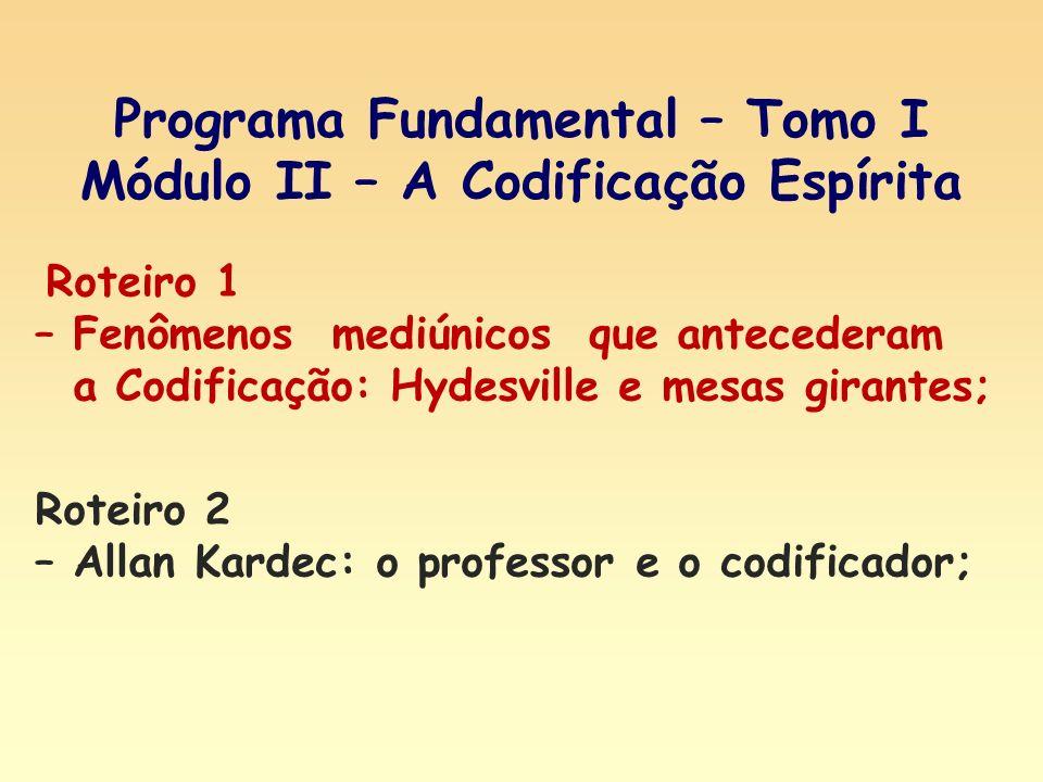 Roteiro 1 – Fenômenos mediúnicos que antecederam a Codificação: Hydesville e mesas girantes; Programa Fundamental – Tomo I Módulo II – A Codificação E