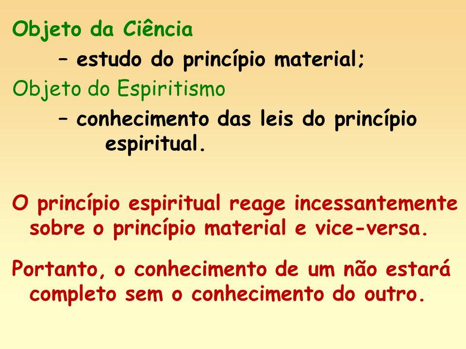 Objeto da Ciência – estudo do princípio material; Objeto do Espiritismo – conhecimento das leis do princípio espiritual. O princípio espiritual reage