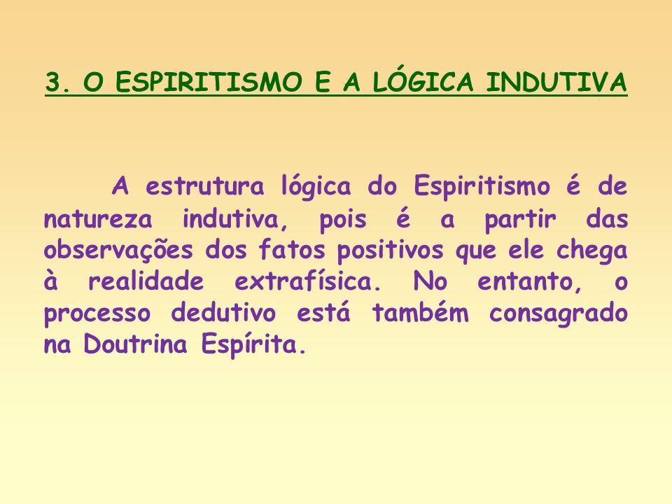 3. O ESPIRITISMO E A LÓGICA INDUTIVA A estrutura lógica do Espiritismo é de natureza indutiva, pois é a partir das observações dos fatos positivos que