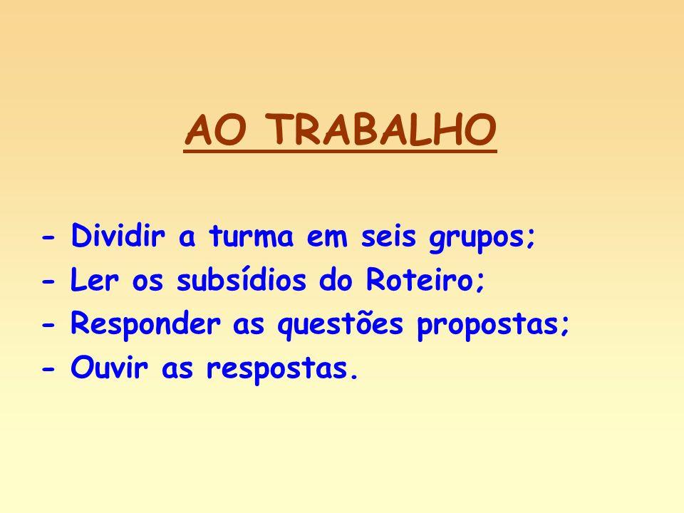 AO TRABALHO - Dividir a turma em seis grupos; - Ler os subsídios do Roteiro; - Responder as questões propostas; - Ouvir as respostas.