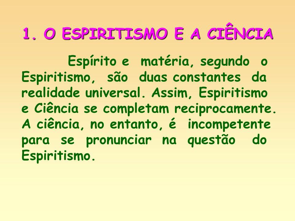Objeto da Ciência – estudo do princípio material; Objeto do Espiritismo – conhecimento das leis do princípio espiritual.