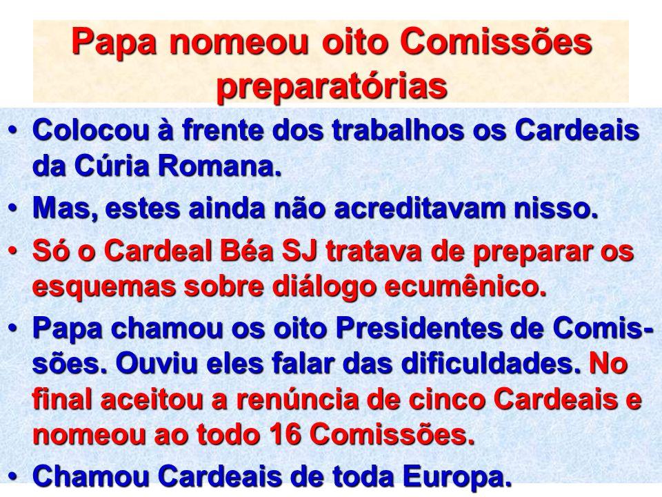 Papa nomeou oito Comissões preparatórias Colocou à frente dos trabalhos os Cardeais da Cúria Romana.Colocou à frente dos trabalhos os Cardeais da Cúri