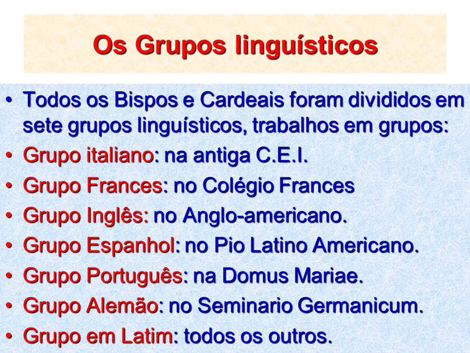 Os Grupos linguísticos Todos os Bispos e Cardeais foram divididos em sete grupos linguísticos, trabalhos em grupos:Todos os Bispos e Cardeais foram di