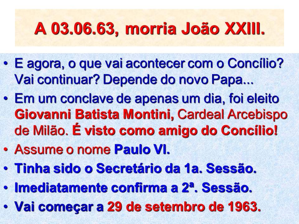 A 03.06.63, morria João XXIII. E agora, o que vai acontecer com o Concílio? Vai continuar? Depende do novo Papa...E agora, o que vai acontecer com o C