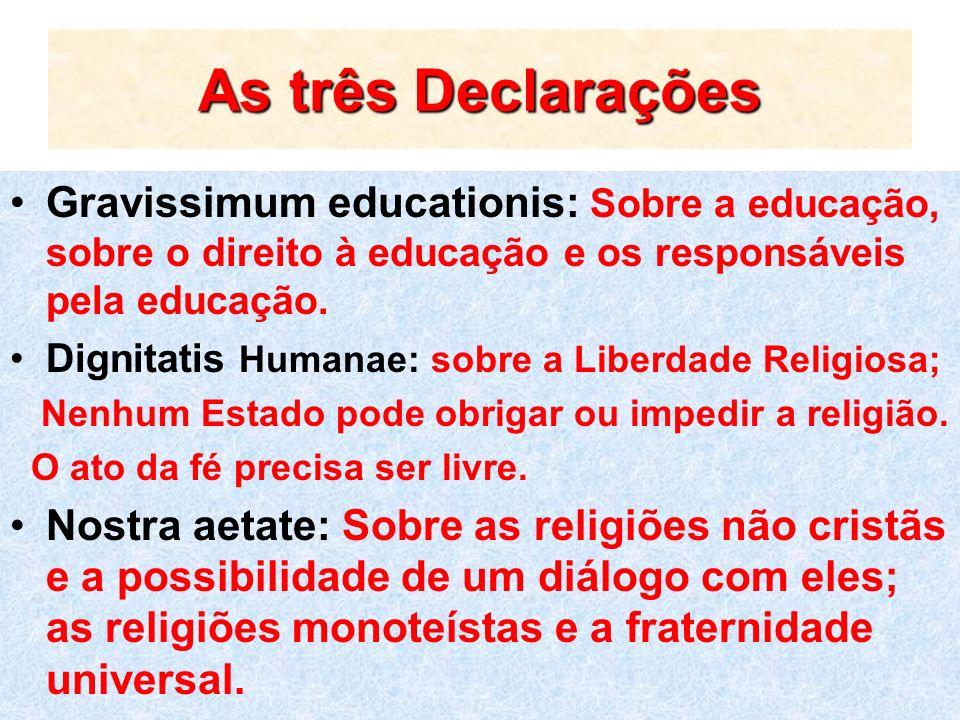 As três Declarações Gravissimum educationis: Sobre a educação, sobre o direito à educação e os responsáveis pela educação. Dignitatis Humanae: sobre a