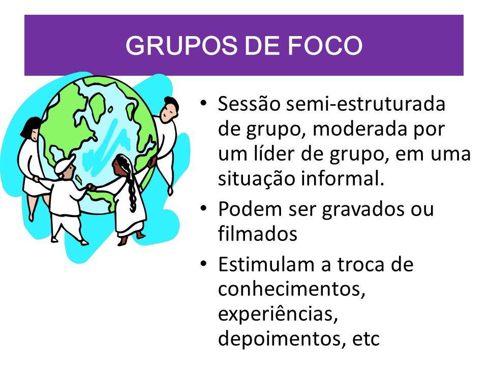 GRUPOS DE FOCO Sessão semi-estruturada de grupo, moderada por um líder de grupo, em uma situação informal. Podem ser gravados ou filmados Estimulam a