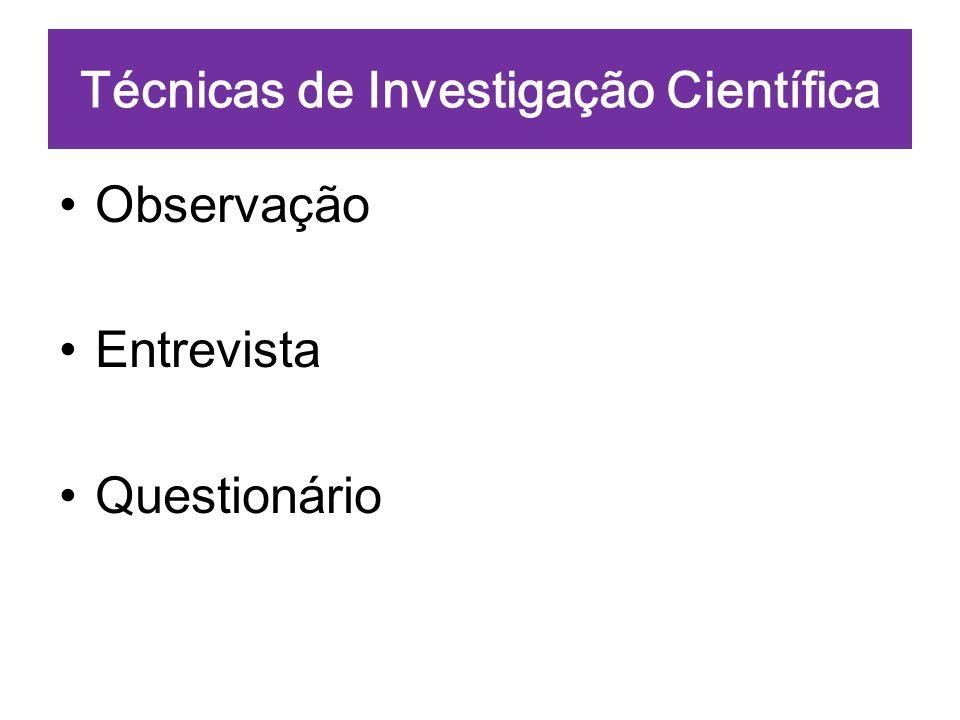 Técnicas de Investigação Científica Observação Entrevista Questionário