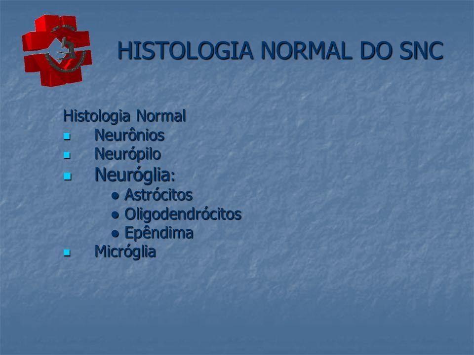 HISTOLOGIA NORMAL DO SNC Histologia Normal Neurônios Neurônios Neurópilo Neurópilo Neuróglia : Neuróglia : Astrócitos Astrócitos Oligodendrócitos Olig