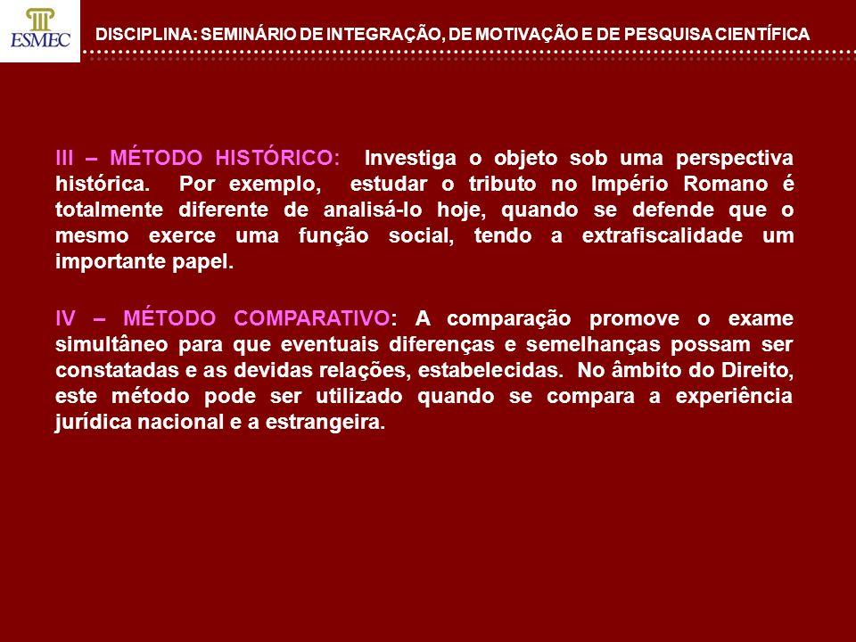 DISCIPLINA: SEMINÁRIO DE INTEGRAÇÃO, DE MOTIVAÇÃO E DE PESQUISA CIENTÍFICA III – MÉTODO HISTÓRICO: Investiga o objeto sob uma perspectiva histórica. P