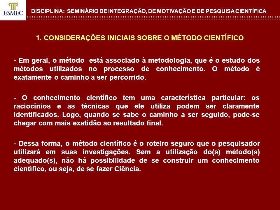 DISCIPLINA: SEMINÁRIO DE INTEGRAÇÃO, DE MOTIVAÇÃO E DE PESQUISA CIENTÍFICA 1. CONSIDERAÇÕES INICIAIS SOBRE O MÉTODO CIENTÍFICO - Em geral, o método es