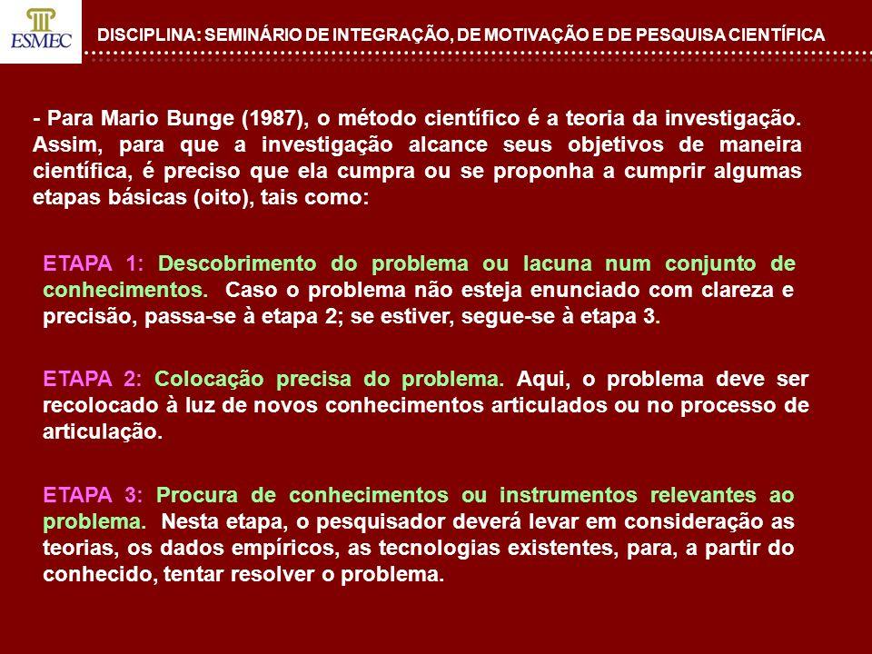 DISCIPLINA: SEMINÁRIO DE INTEGRAÇÃO, DE MOTIVAÇÃO E DE PESQUISA CIENTÍFICA - Para Mario Bunge (1987), o método científico é a teoria da investigação.