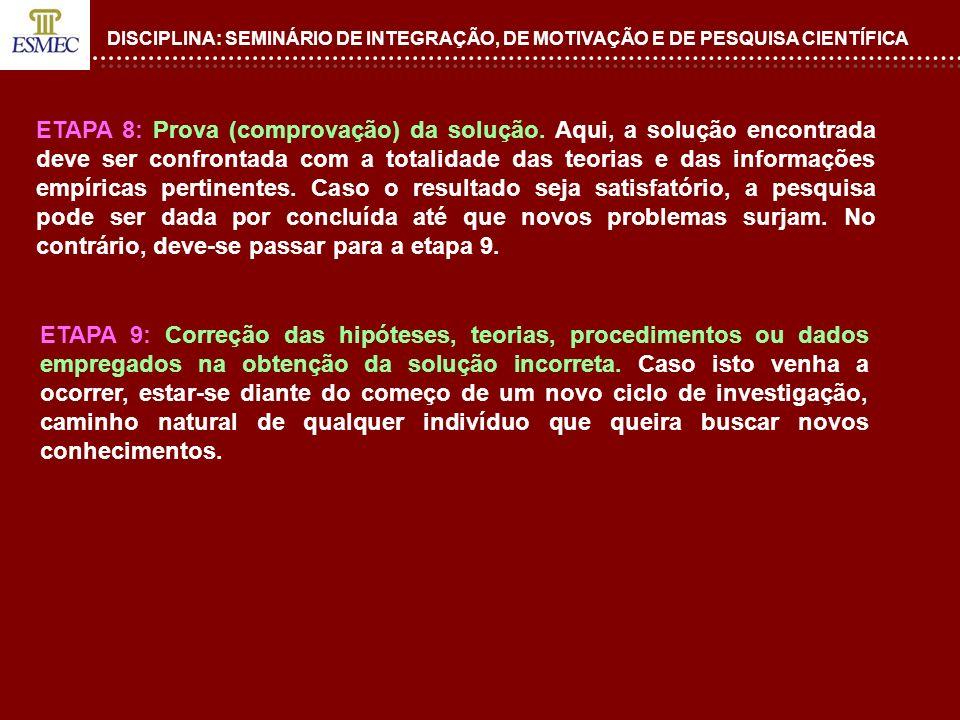 DISCIPLINA: SEMINÁRIO DE INTEGRAÇÃO, DE MOTIVAÇÃO E DE PESQUISA CIENTÍFICA ETAPA 8: Prova (comprovação) da solução. Aqui, a solução encontrada deve se