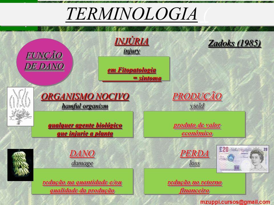 mzuppi.cursos@gmail.com Educação e Treinamento do Homem do Campo ORGANISMO NOCIVO hamful organism qualquer agente biológico que injurie a planta ORGAN