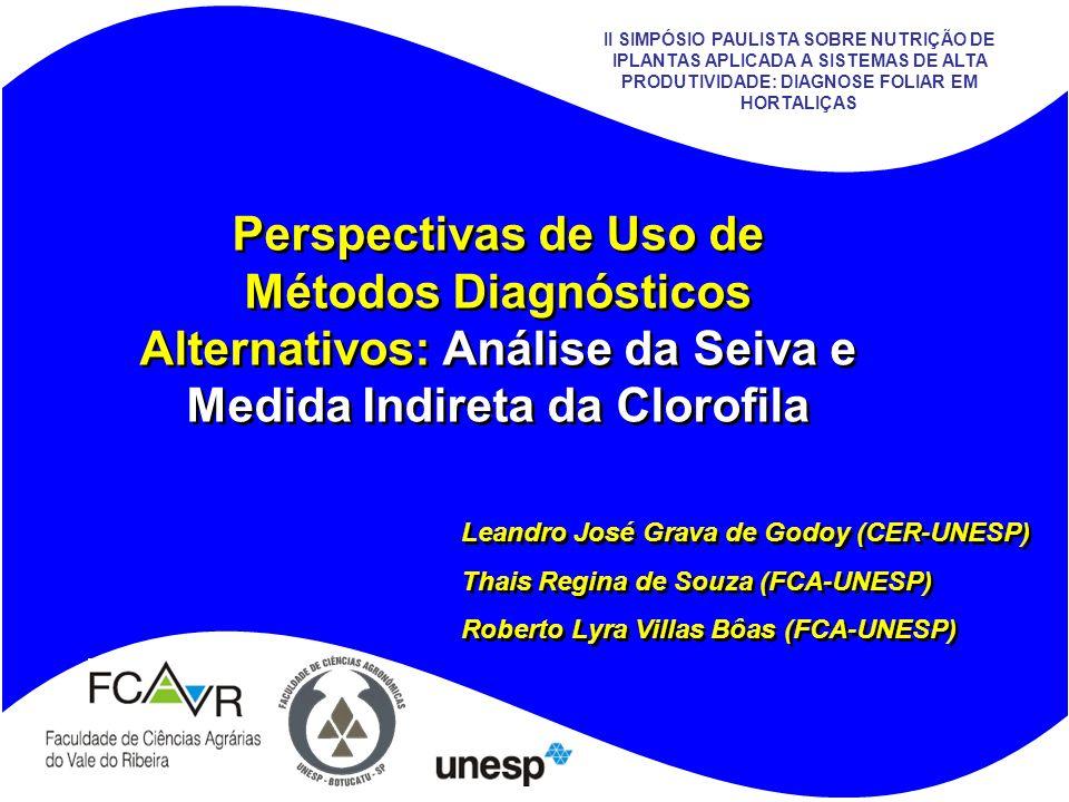 1 Perspectivas de Uso de Métodos Diagnósticos Alternativos: Análise da Seiva e Medida Indireta da Clorofila Leandro José Grava de Godoy (CER-UNESP) Th