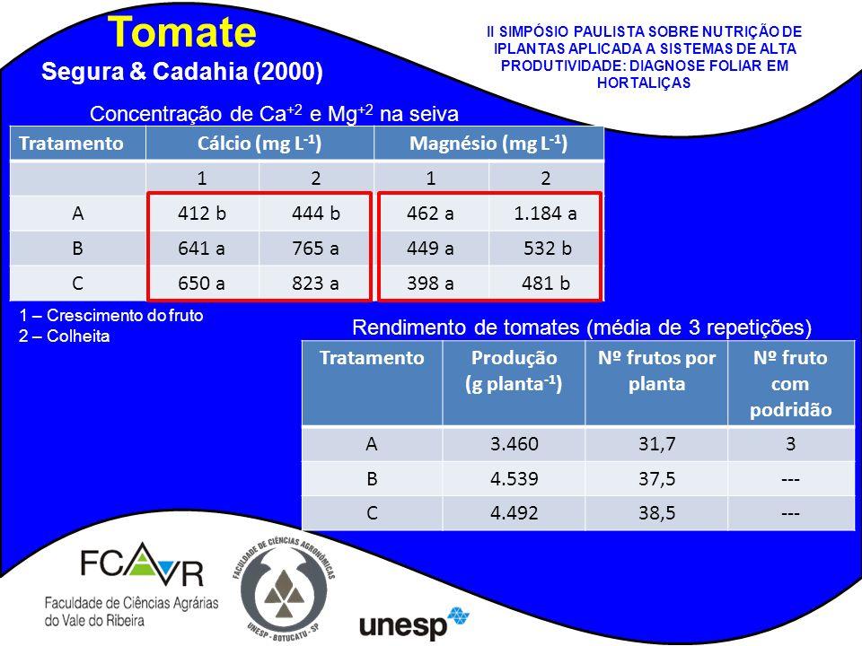 Tomate Segura & Cadahia (2000) TratamentoCálcio (mg L -1 )Magnésio (mg L -1 ) 1212 A412 b444 b462 a1.184 a B641 a765 a449 a 532 b C650 a823 a398 a481