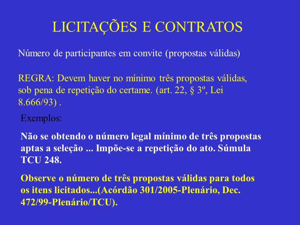 LICITAÇÕES E CONTRATOS Número de participantes em convite (propostas válidas) REGRA: Devem haver no mínimo três propostas válidas, sob pena de repetiç