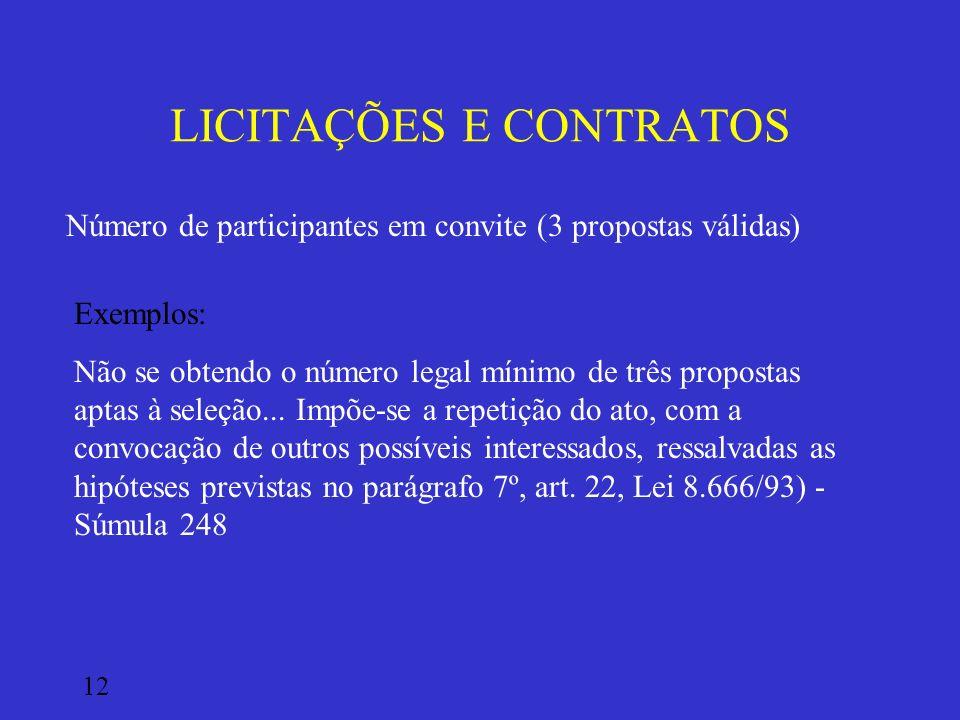 LICITAÇÕES E CONTRATOS Número de participantes em convite (3 propostas válidas) Exemplos: Não se obtendo o número legal mínimo de três propostas aptas
