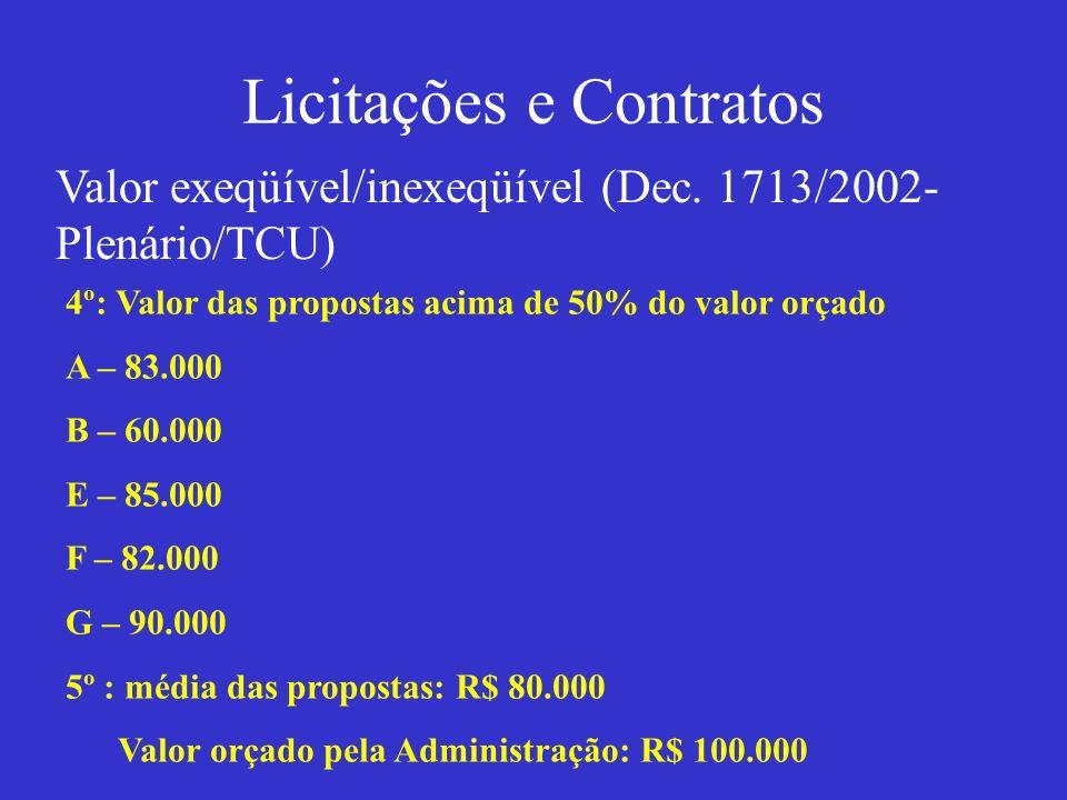 Licitações e Contratos Valor exeqüível/inexeqüível (Dec. 1713/2002- Plenário/TCU) 4º: Valor das propostas acima de 50% do valor orçado A – 83.000 B –